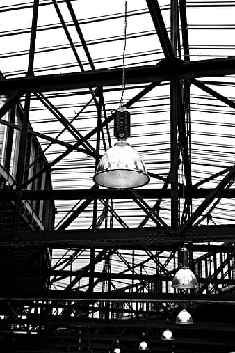 Grayscale photo of pendant lamp