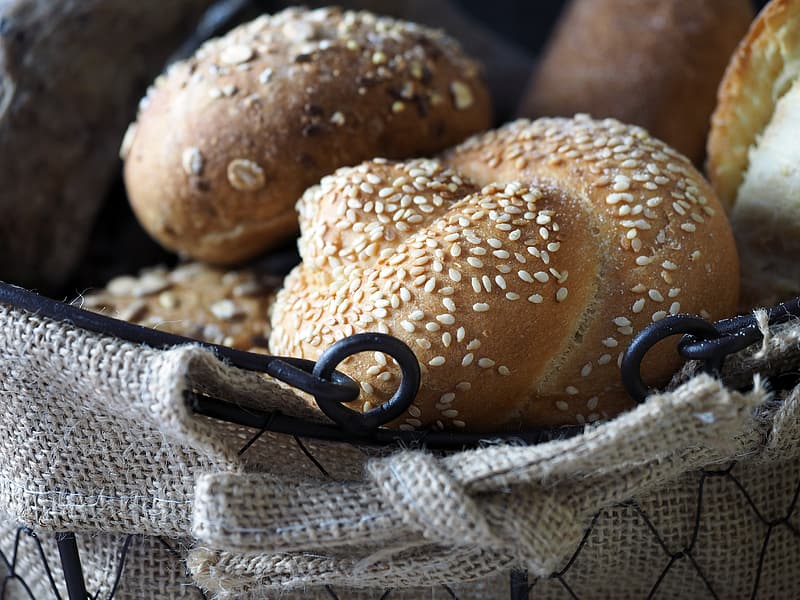 Closeup photo of baked pastries with sesame seeds