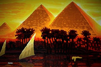 White sailboats and red-and-black trees near brown pyramids paintings