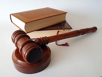 Brown wooden gavel and two books