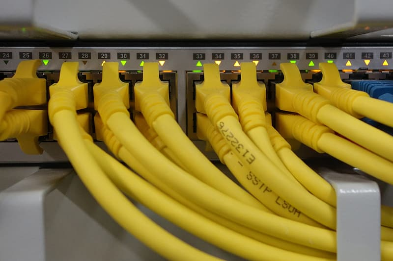 Yellow ethernet cables