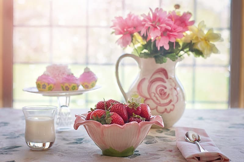 Pink and white ceramic floral bowl