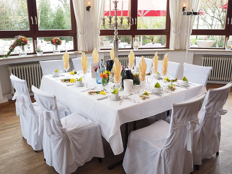 White table with white chairs