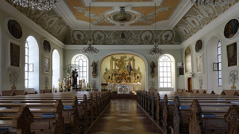Nave, altötting, catholic, altar, church pews, places of interest, house of worship, bavaria, germany, history