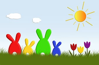 Red, yellow, green, and blue rabbits painting