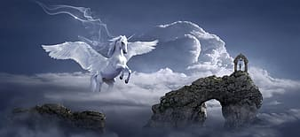 Pegasus on cloud with man on hill illustration