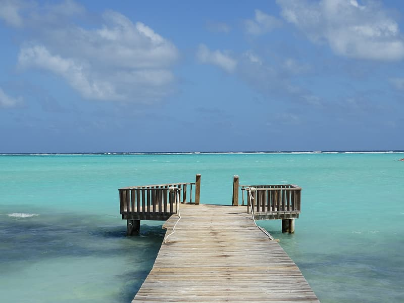 Brown wooden dock on body of water at daytime