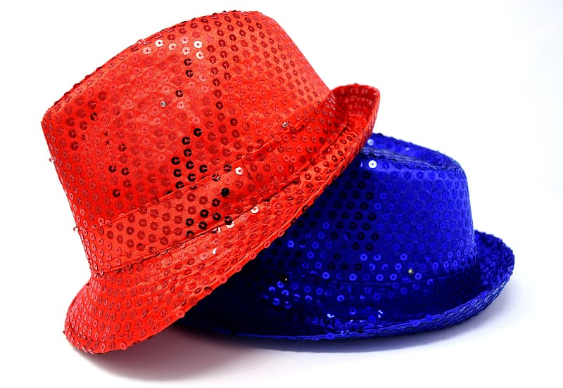 Two blue and red sequin fedora hats