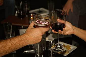 Two people making cheers