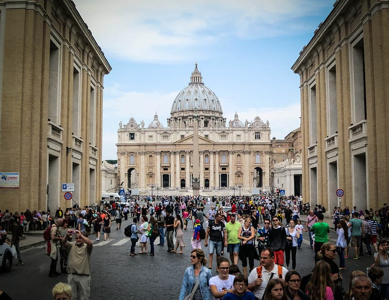 Landscape photography of crowd of people outside the cathedral
