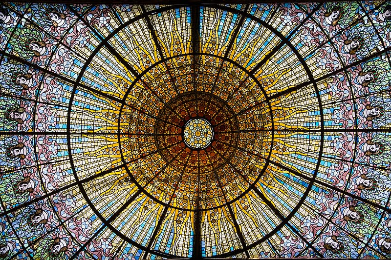 Low angle photography of stain glass ceiling
