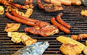 Roasted hot-dog and meats