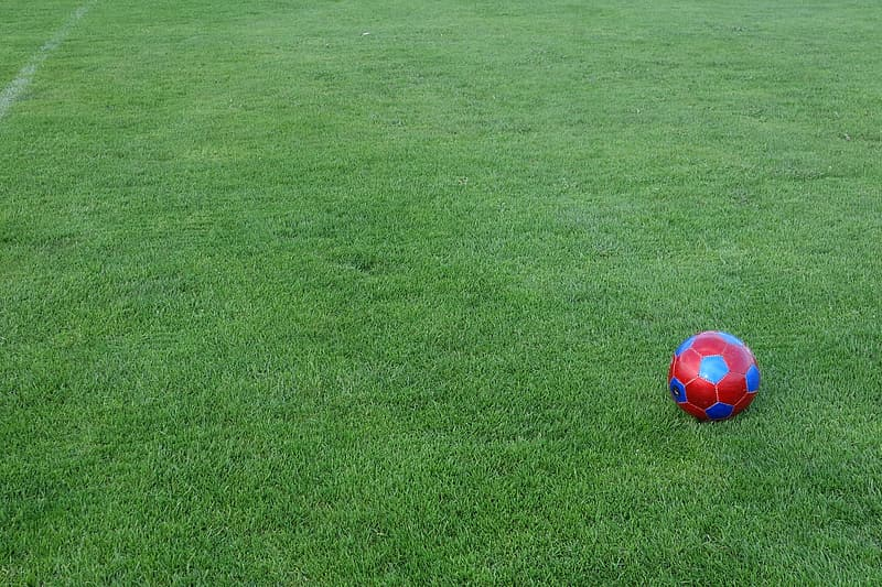 Red and blue soccer ball