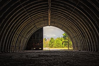 Brown tunnel near green trees during daytime
