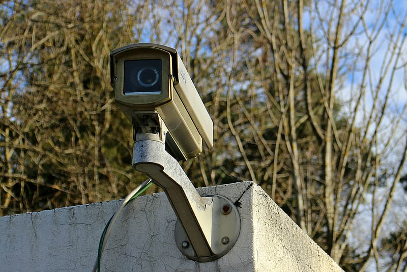 Security camera mounted on the wall