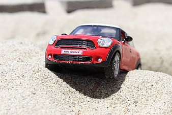 Red Mini Cooper scale model selective focal photo