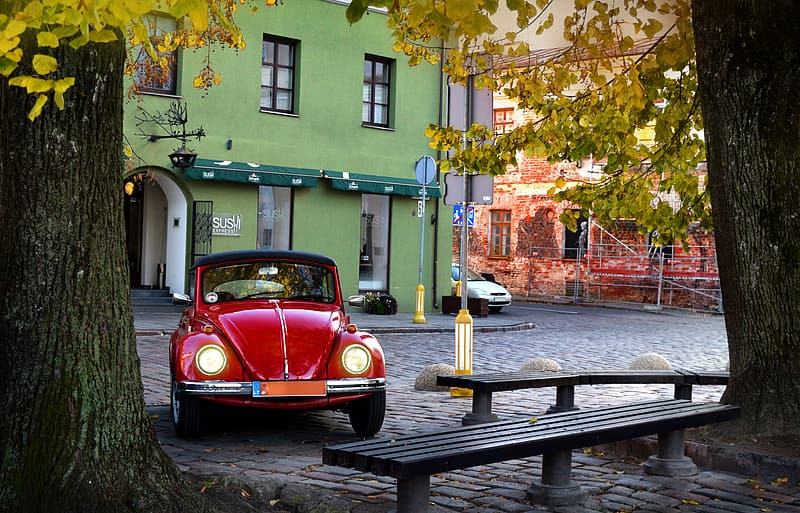 Red Volkswagen Beetle coupe parked beside gray tree trunk near black concrete bench at daytime