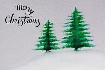 Two green pine trees painting