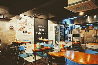 Casual food cafeteria interior with lights