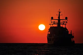 Silhouette photo of ship