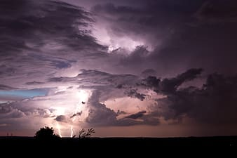 Silhouette photo of lightning