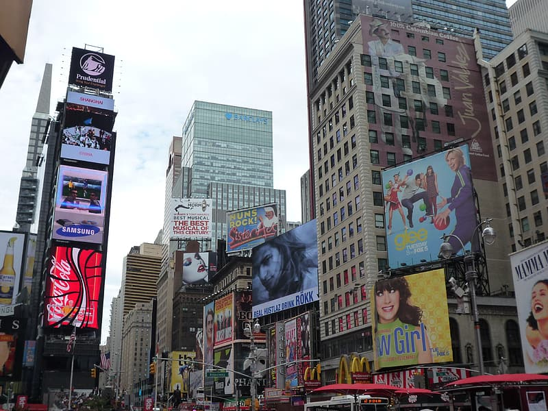 Assorted digital billboards on the city buildings