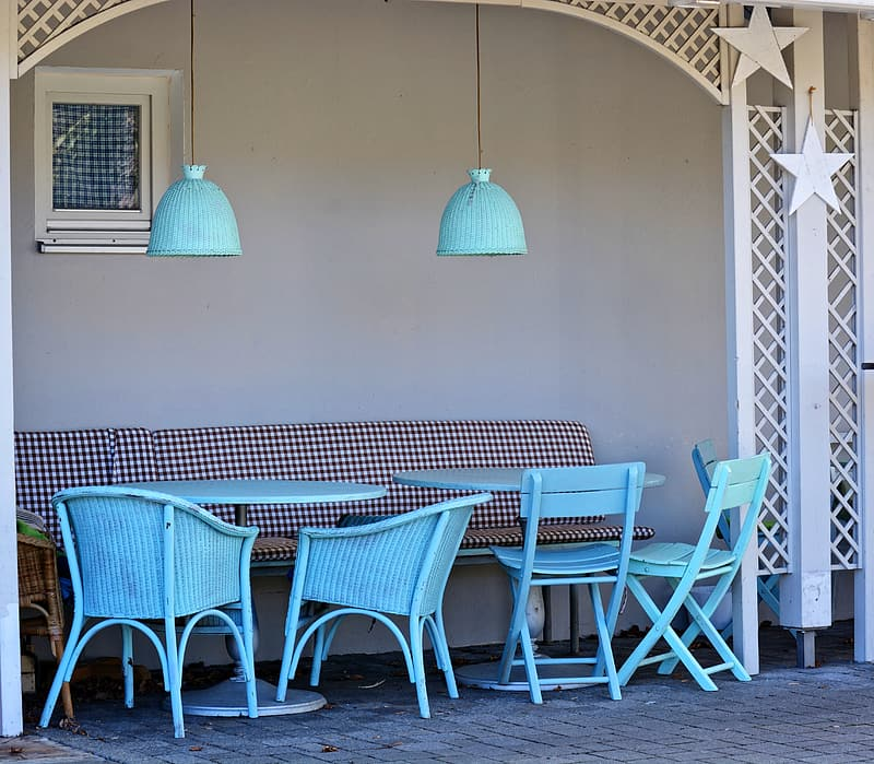 Teal dining tables and chairs