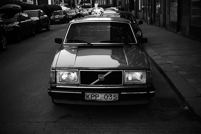 Volvo car parked on road