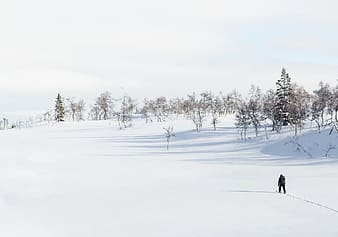 Man walking along snow-covered surface