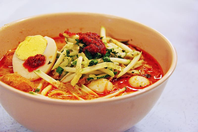 Noodle dish with hard boiled egg