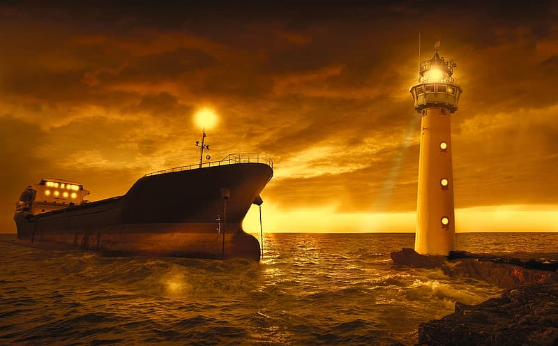 White and black lighthouse surrounded by body of water near cruiser ship at golden hour