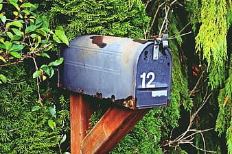 Blue metal mailbox on brown wooden post photography