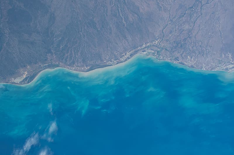 Aerial photography of beachline