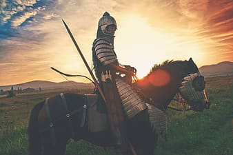 Man riding horse during golden hour
