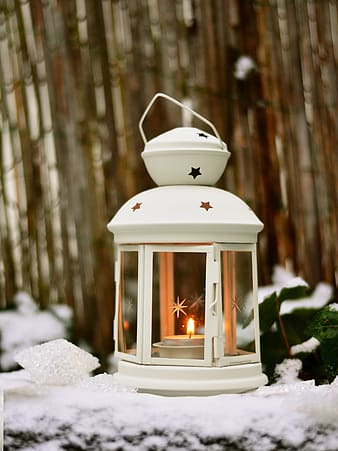 White metal framed candle lantern
