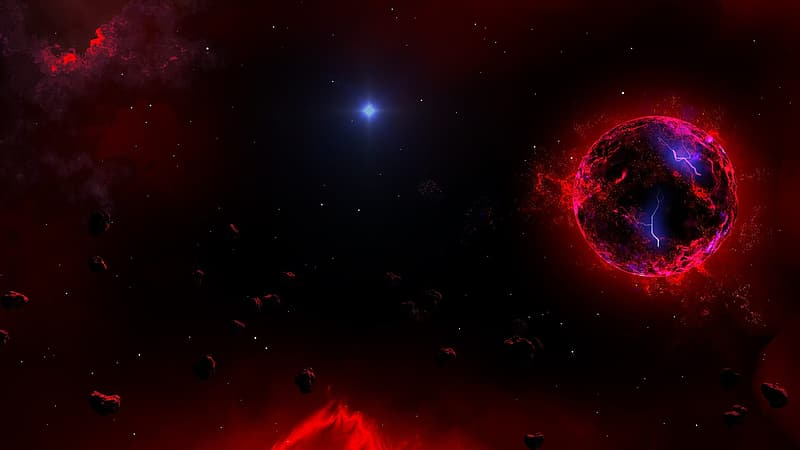 Red and black galaxy illustration