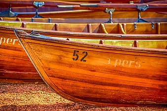 Brown wooden canoes