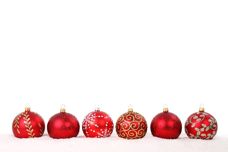 Six red Christmas Baubles