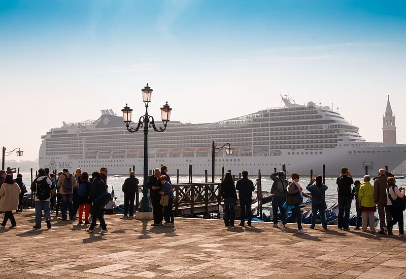 People standing near cruise ship on body of water during daytime
