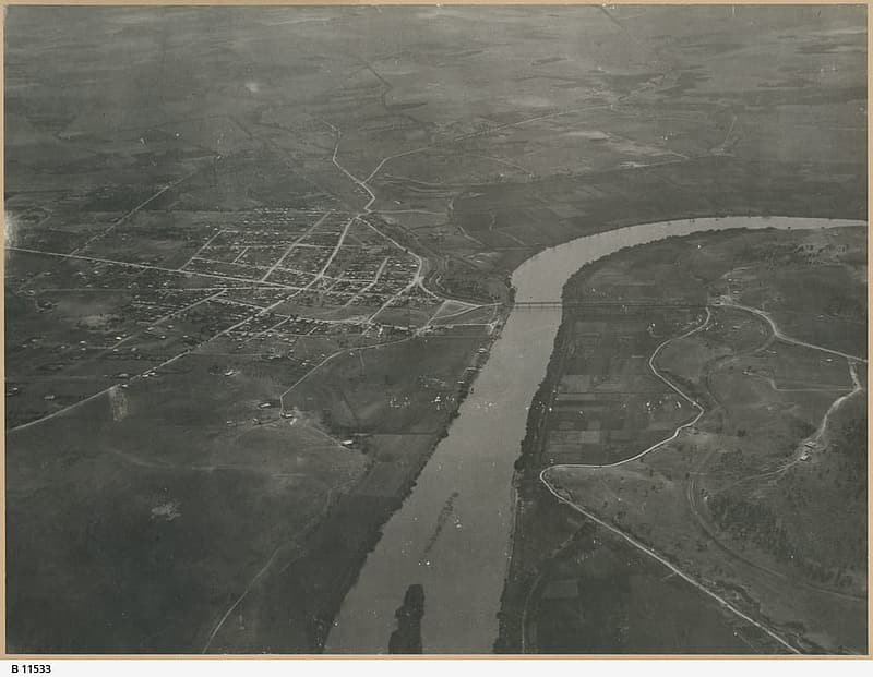 Aerial View of Murray Bridge in 1920, South Australia