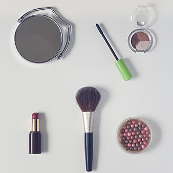 Flat lay photography of cosmetics