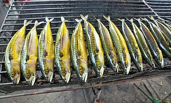 Silver and yellow fishes on black wooden table