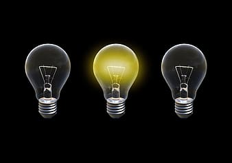 Three yellow light bulb on white background