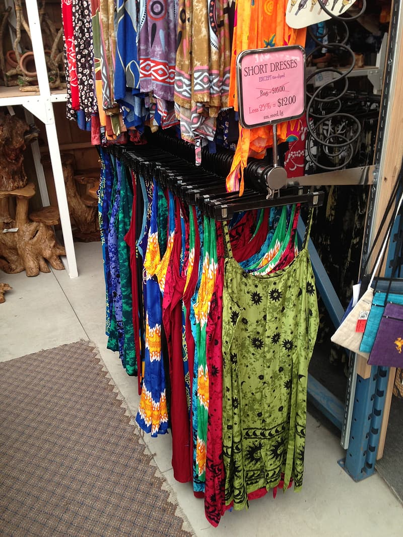 Assorted-color displayed clothes