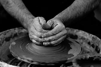 Grayscale pottery photo