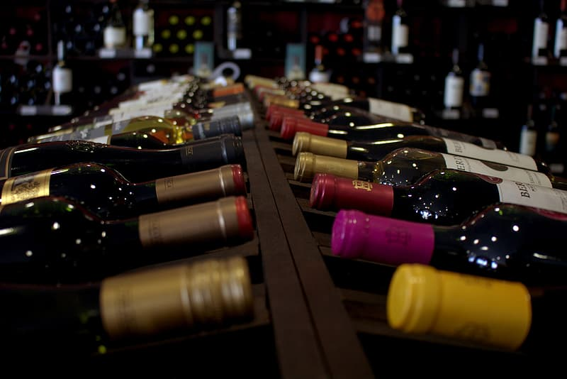 Assorted closed wine bottles