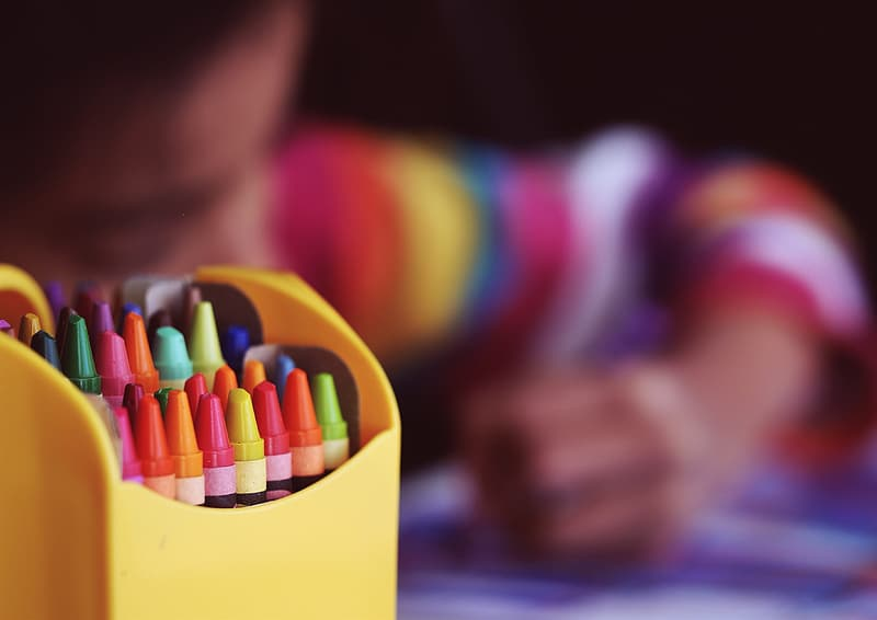 Coloring pencils in yellow container