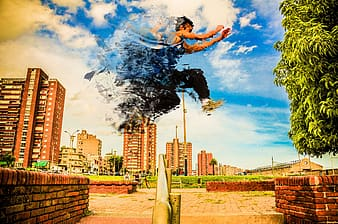 Edited photo of man jumping over handrail