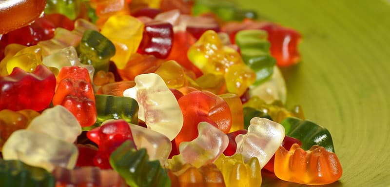 Yellow red and green gummy candies