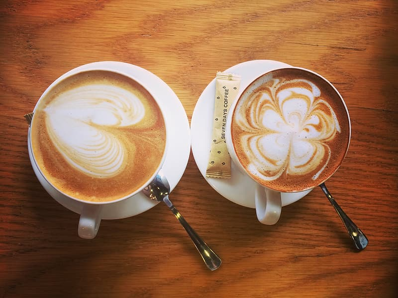 Flat lay photography of two lattes